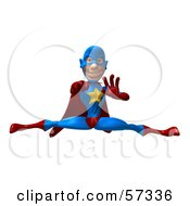 Royalty Free RF Clipart Illustration Of A 3d Male Star Superhero Character Punching And Doing The Splits by Julos