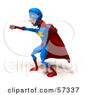 Royalty Free RF Clipart Illustration Of A 3d Male Star Superhero Character Punching Version 3 by Julos
