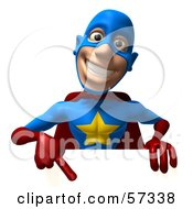 Royalty Free RF Clipart Illustration Of A 3d Male Star Superhero Character Pointing Down At A Blank Sign by Julos
