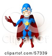 Royalty Free RF Clipart Illustration Of A 3d Male Star Superhero Character Waving Version 2 by Julos