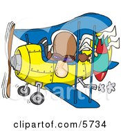 Poster, Art Print Of Bomber Man In A Biplane Preparing To Drop A Bomb