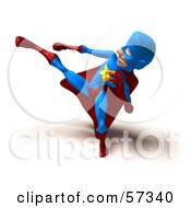 Royalty Free RF Clipart Illustration Of A 3d Male Star Superhero Character Kicking Version 5 by Julos