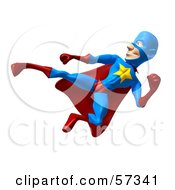 Royalty Free RF Clipart Illustration Of A 3d Male Star Superhero Character Kicking Version 6 by Julos