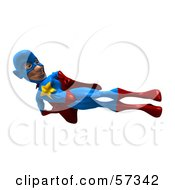 Royalty Free RF Clipart Illustration Of A 3d Male Star Superhero Character Doing A Flying Side Kick by Julos