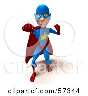 Royalty Free RF Clipart Illustration Of A 3d Male Star Superhero Character Punching Version 2 by Julos