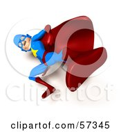 Royalty Free RF Clipart Illustration Of A 3d Male Star Superhero Character Kicking Version 7 by Julos