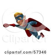 Royalty Free RF Clipart Illustration Of A 3d Male Star Superhero Character Flying Version 1 by Julos