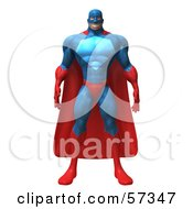 Royalty Free RF Clipart Illustration Of A 3d Buffman Super Hero Character Standing And Facing Front Version 1