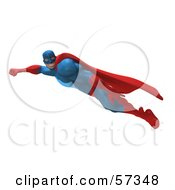 Royalty Free RF Clipart Illustration Of A 3d Buffman Super Hero Character Flying Version 2