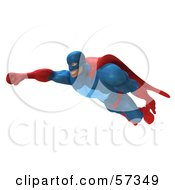 Royalty Free RF Clipart Illustration Of A 3d Buffman Super Hero Character Flying Version 4