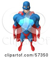 Royalty Free RF Clipart Illustration Of A 3d Buffman Super Hero Character Standing And Facing Front Version 2