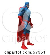 Royalty Free RF Clipart Illustration Of A 3d Buffman Super Hero Character Standing And Facing Right