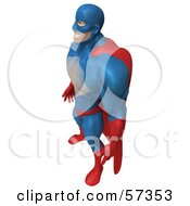 Royalty Free RF Clipart Illustration Of A 3d Buffman Super Hero Character Standing And Facing Left
