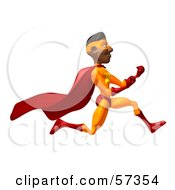Royalty Free RF Clipart Illustration Of A 3d Black Male Super Hero Running And Clenching His Fists Version 2