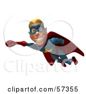 Royalty Free RF Clipart Illustration Of A 3d Male Star Superhero Character Flying Version 2 by Julos