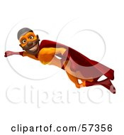 Royalty Free RF Clipart Illustration Of A 3d Black Male Super Hero Flying Version 2