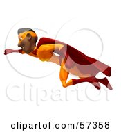 Royalty Free RF Clipart Illustration Of A 3d Black Male Super Hero Flying Version 1