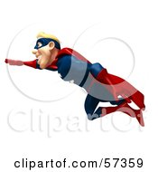 Royalty Free RF Clipart Illustration Of A 3d Male Super Guy Character Flying Version 2
