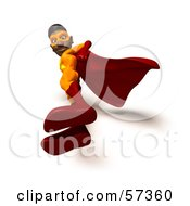 Royalty Free RF Clipart Illustration Of A 3d Black Male Super Hero Standing And Looking Down