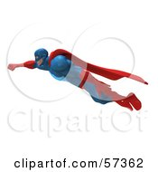Royalty Free RF Clipart Illustration Of A 3d Buffman Super Hero Character Flying Version 1