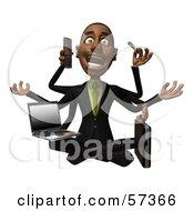 3d Black Businessman Character Multi Tasking - Version 2