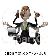 Royalty Free RF Clipart Illustration Of A 3d Black Businessman Character Multi Tasking Version 2