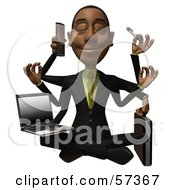 Royalty Free RF Clipart Illustration Of A 3d Black Businessman Character Multi Tasking Version 1