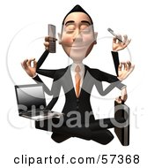 Royalty Free RF Clipart Illustration Of A 3d Asian Businessman Character Multi Tasking Version 1