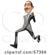 Royalty Free RF Clipart Illustration Of A 3d White Corporate Businessman Character Running Version 2