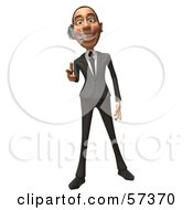 Royalty Free RF Clipart Illustration Of A 3d White Corporate Businessman Character Wearing A Headset And Pointing His Fingers Like A Gun Version 2