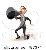 Royalty Free RF Clipart Illustration Of A 3d White Corporate Businessman Character Using A Megaphone Version 3