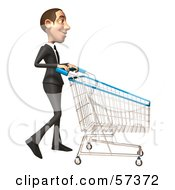 Royalty Free RF Clipart Illustration Of A 3d White Corporate Businessman Character Pushing A Shopping Cart Version 2