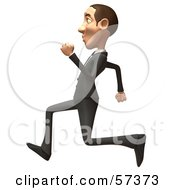 Royalty Free RF Clipart Illustration Of A 3d White Corporate Businessman Character Running Version 5