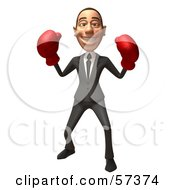 Royalty Free RF Clipart Illustration Of A 3d White Corporate Businessman Character Boxing Version 5
