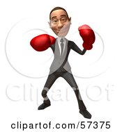 Royalty Free RF Clipart Illustration Of A 3d White Corporate Businessman Character Boxing Version 4