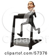 Royalty Free RF Clipart Illustration Of A 3d White Corporate Businessman Character Running On A Treadmill Version 2