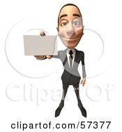 Royalty Free RF Clipart Illustration Of A 3d White Corporate Businessman Character Holding A Blank Business Card Version 1