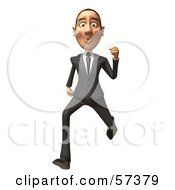 Royalty Free RF Clipart Illustration Of A 3d White Corporate Businessman Character Running Version 1