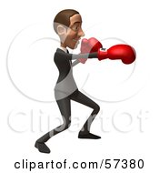 Royalty Free RF Clipart Illustration Of A 3d White Corporate Businessman Character Boxing Version 6