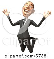 Royalty Free RF Clipart Illustration Of A 3d White Corporate Businessman Character Jumping Version 1