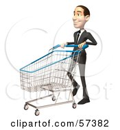 Royalty Free RF Clipart Illustration Of A 3d White Corporate Businessman Character Pushing A Shopping Cart Version 3