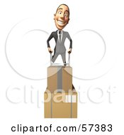 Royalty Free RF Clipart Illustration Of A 3d White Corporate Businessman Character Moving Boxes On A Dolly Version 4