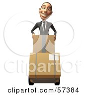 Royalty Free RF Clipart Illustration Of A 3d White Corporate Businessman Character Moving Boxes On A Dolly Version 1