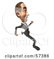 Royalty Free RF Clipart Illustration Of A 3d White Corporate Businessman Character Running Version 4