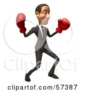 Royalty Free RF Clipart Illustration Of A 3d White Corporate Businessman Character Boxing Version 3