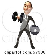 Royalty Free RF Clipart Illustration Of A 3d White Corporate Businessman Character Lifting Weights Version 1