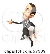 Royalty Free RF Clipart Illustration Of A 3d White Corporate Businessman Character Pointing His Fingers Like A Gun Version 2