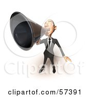 Royalty Free RF Clipart Illustration Of A 3d White Corporate Businessman Character Using A Megaphone Version 5