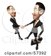 Royalty Free RF Clipart Illustration Of A 3d White Corporate Businessman Character Shaking Hands With A Colleague Version 3