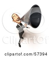 Royalty Free RF Clipart Illustration Of A 3d White Corporate Businessman Character Using A Megaphone Version 4